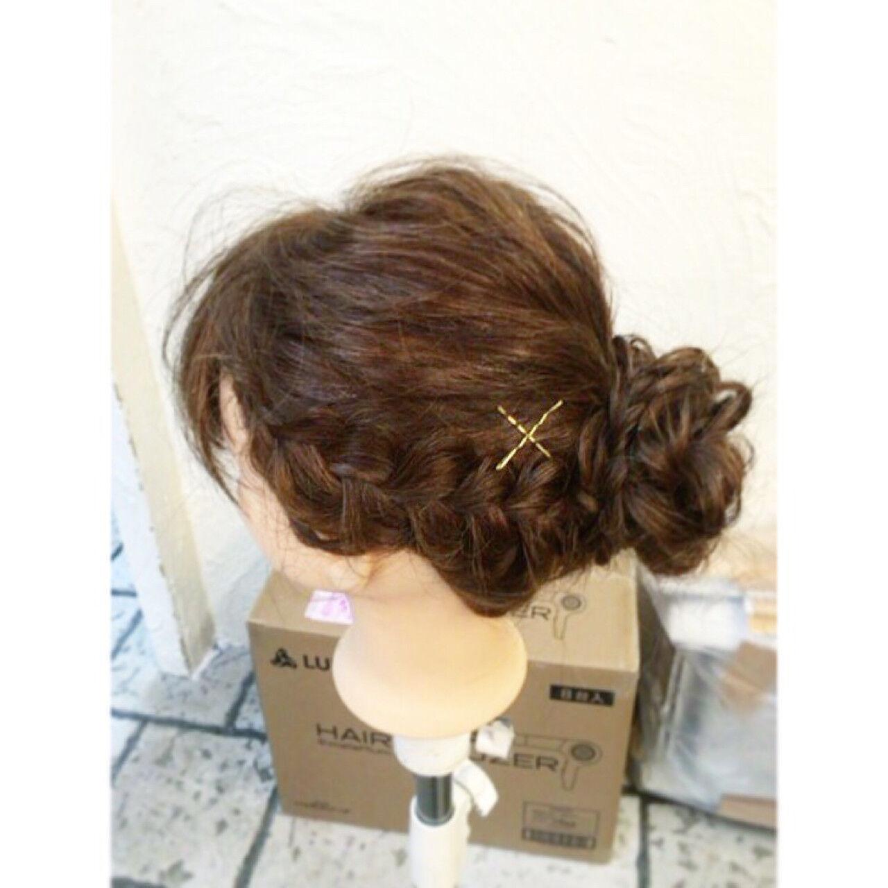 ヘアアレンジ ショート ゆるふわ ガーリーヘアスタイルや髪型の写真・画像