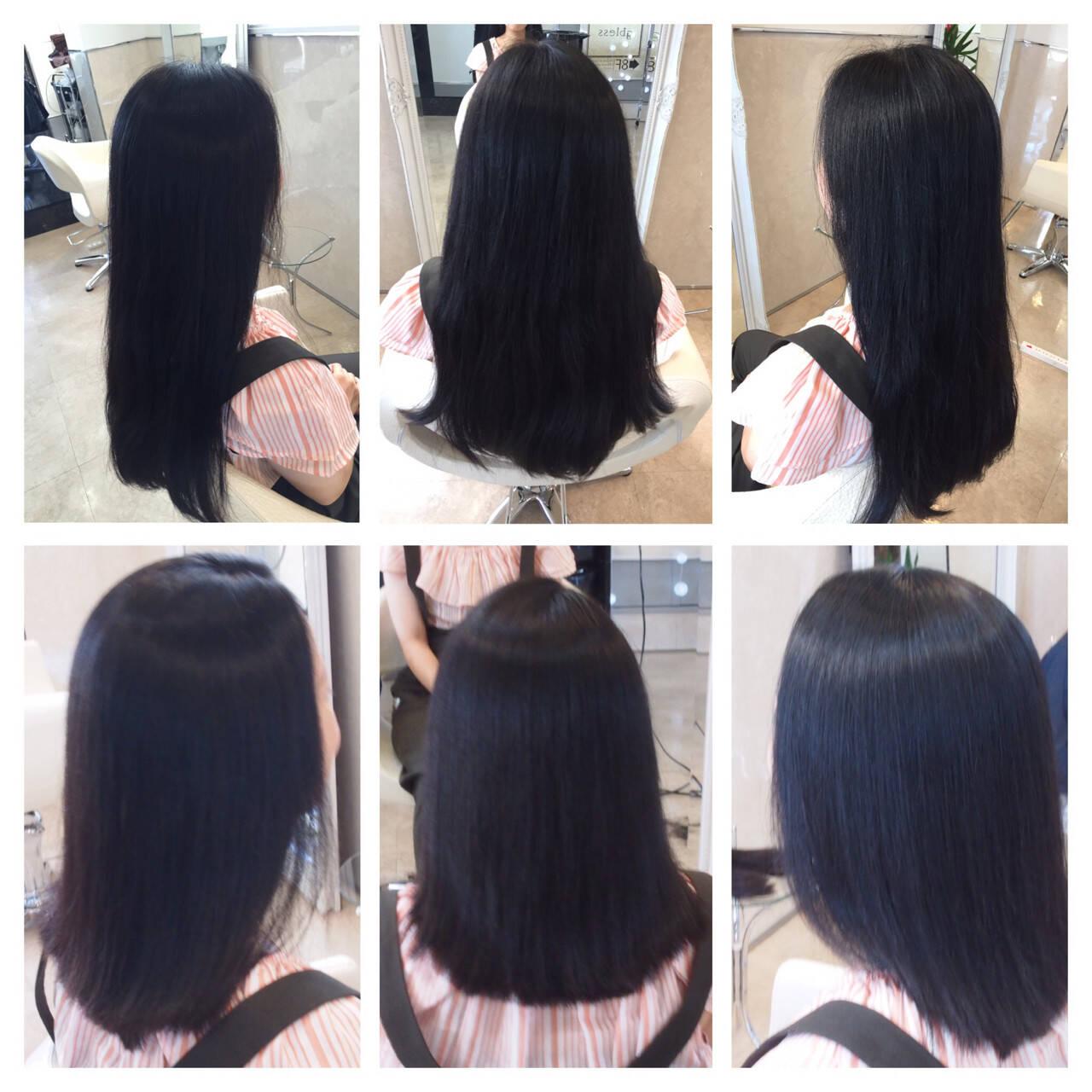 大人女子 セミロング 艶髪 ストレートヘアスタイルや髪型の写真・画像