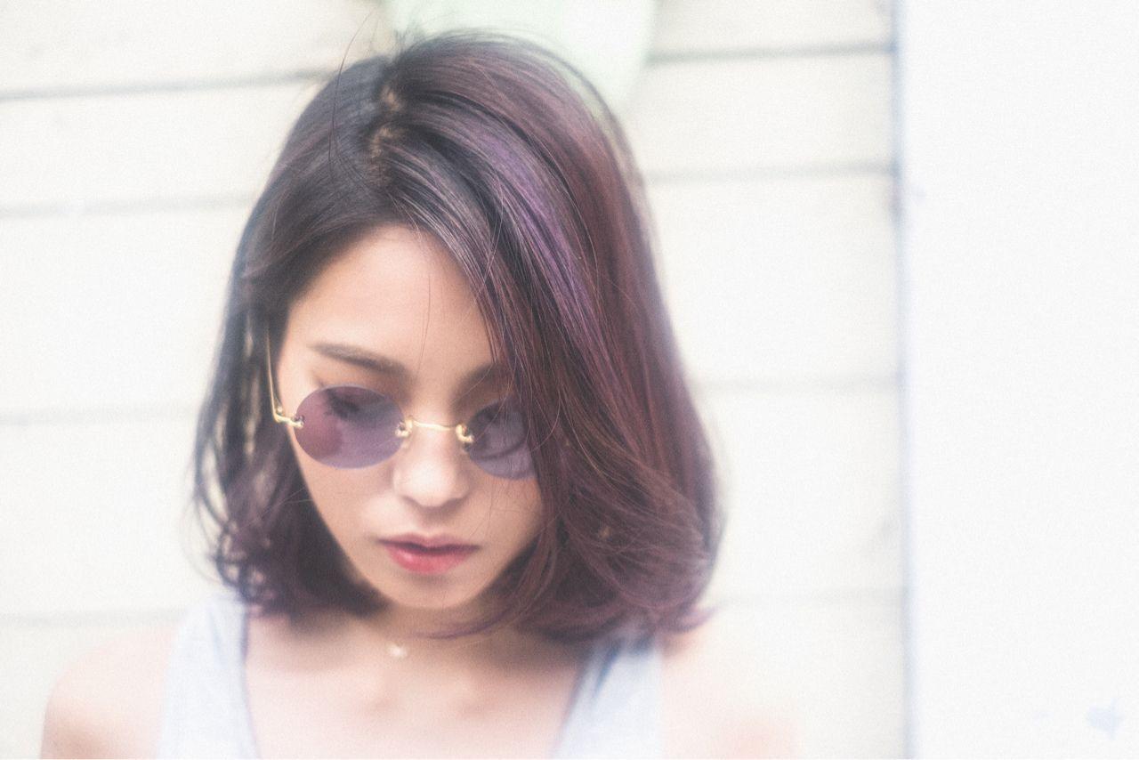 パンク ロブ パープル ストリートヘアスタイルや髪型の写真・画像