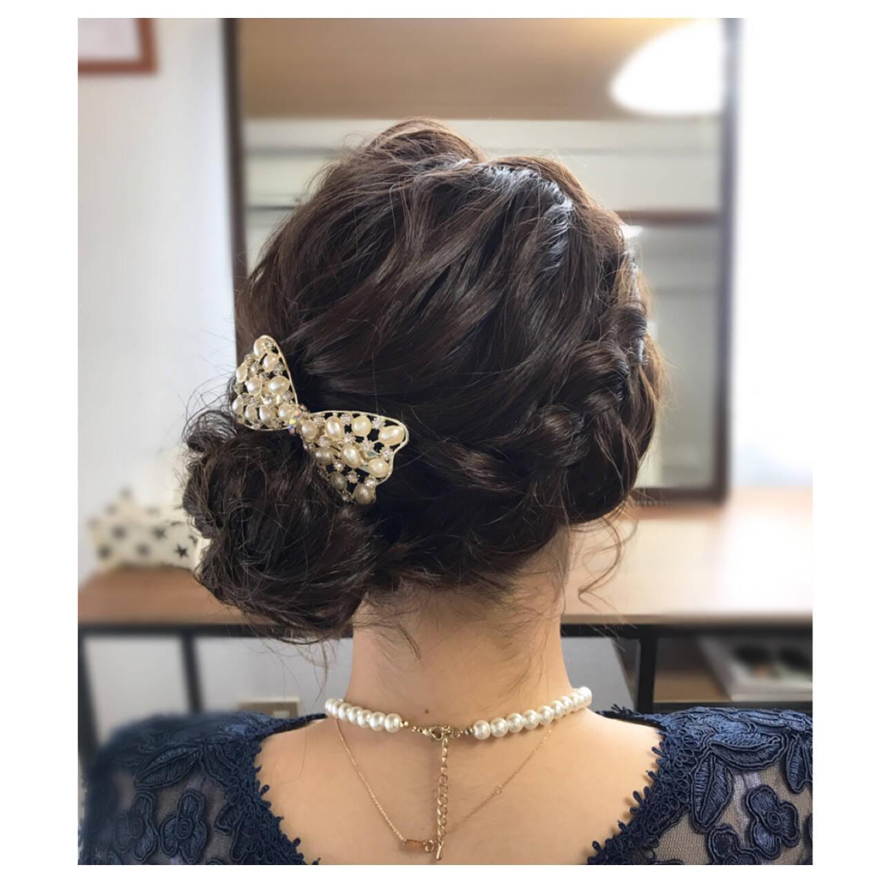 パーティ ヘアアレンジ ミディアム 結婚式ヘアスタイルや髪型の写真・画像