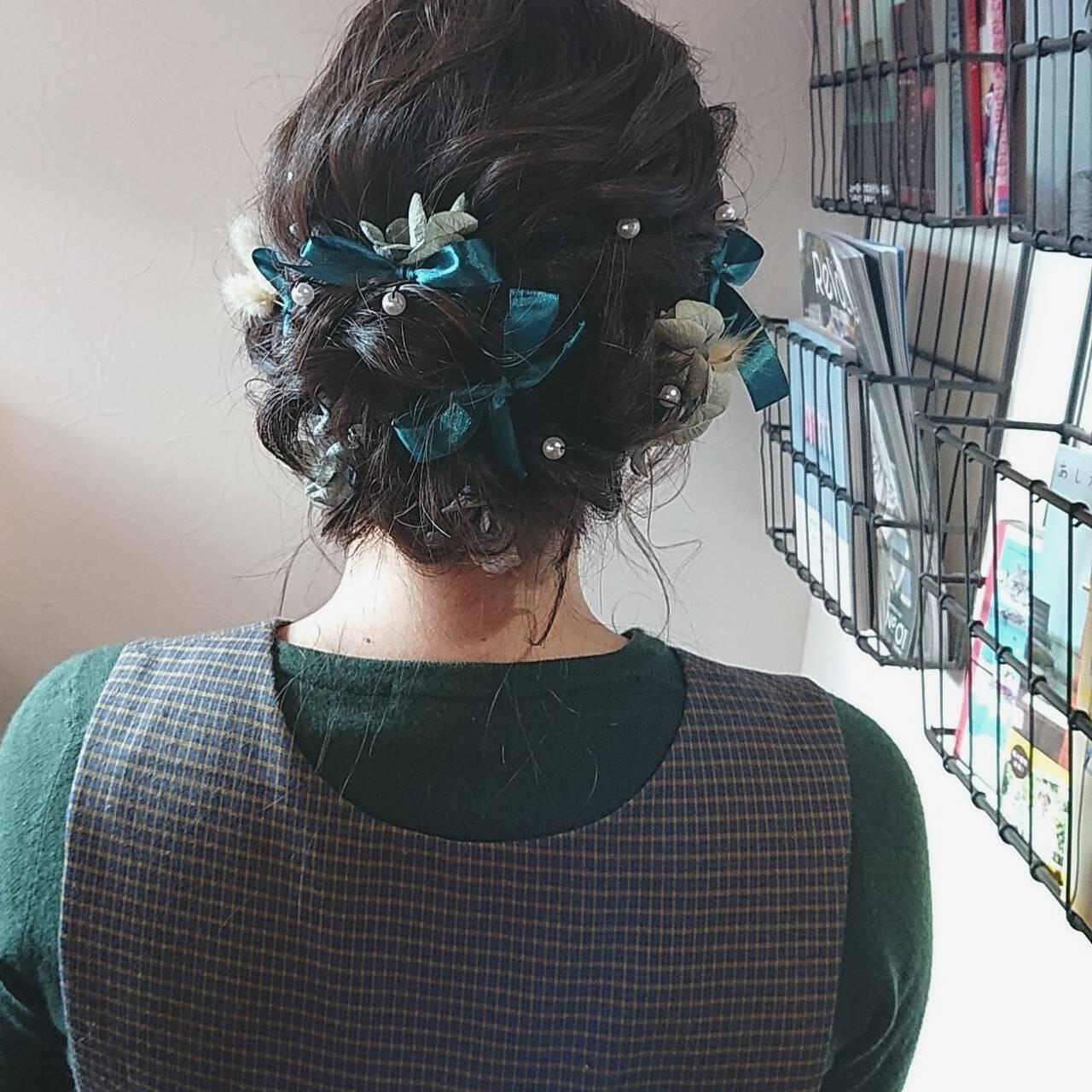 ガーリー リボン お呼ばれ ヘアアレンジヘアスタイルや髪型の写真・画像