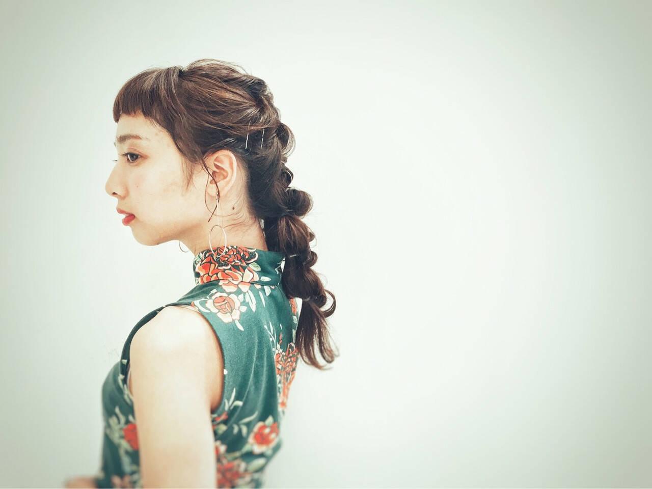 前髪パッツン デート ロング 女子会ヘアスタイルや髪型の写真・画像