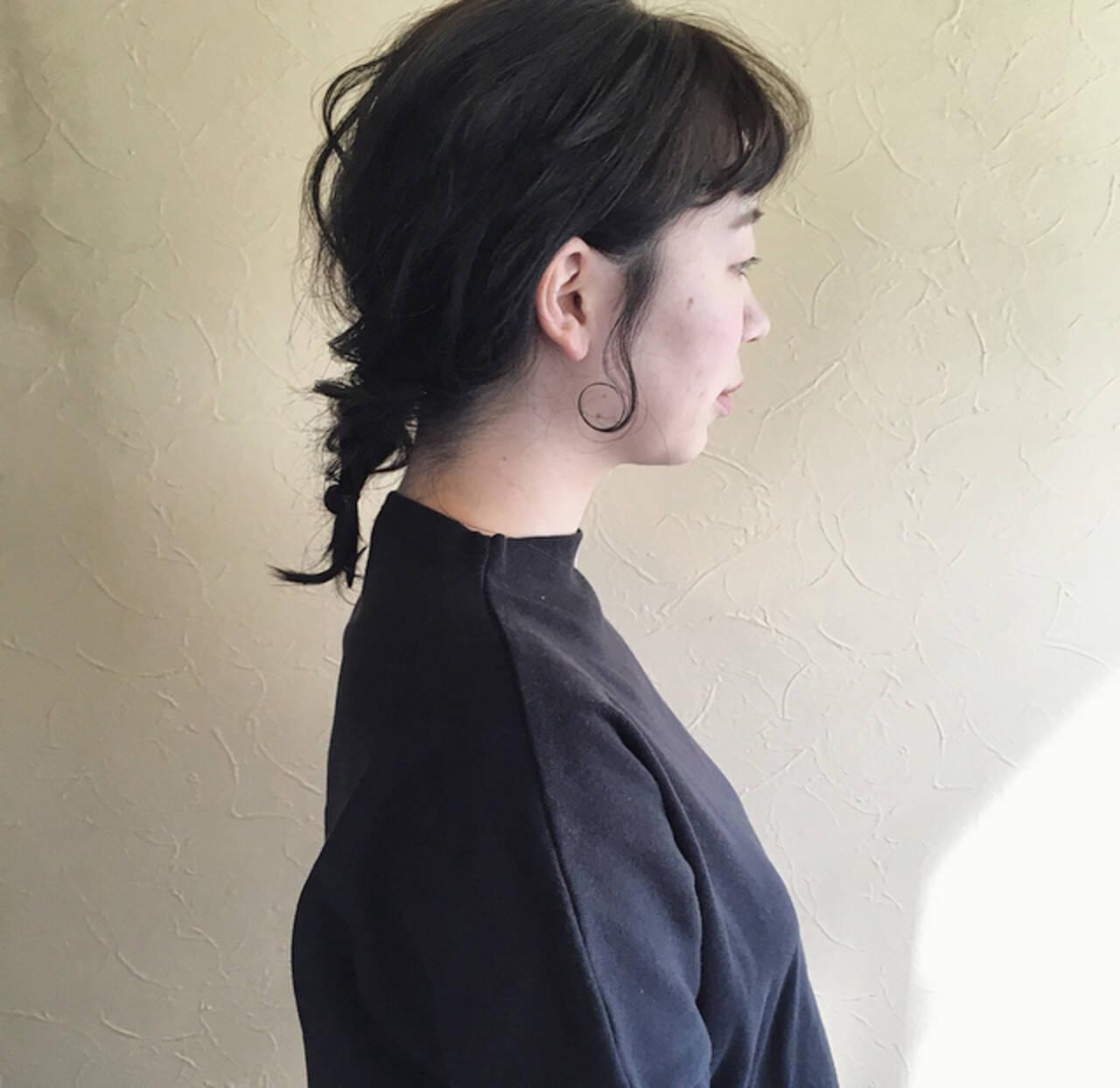 簡単ヘアアレンジ ガーリー ゆるい フィッシュボーンヘアスタイルや髪型の写真・画像