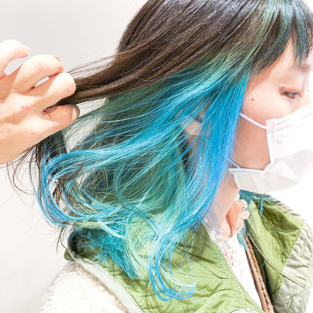 ストリート ハイトーン デジタルパーマ ミディアムヘアスタイルや髪型の写真・画像