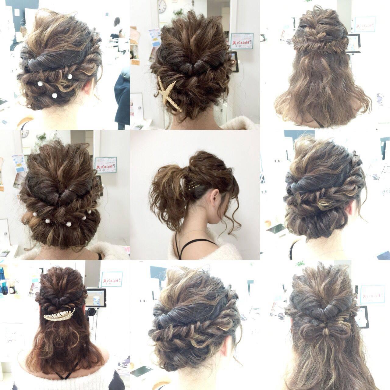 波ウェーブ 編み込み セミロング モテ髪ヘアスタイルや髪型の写真・画像