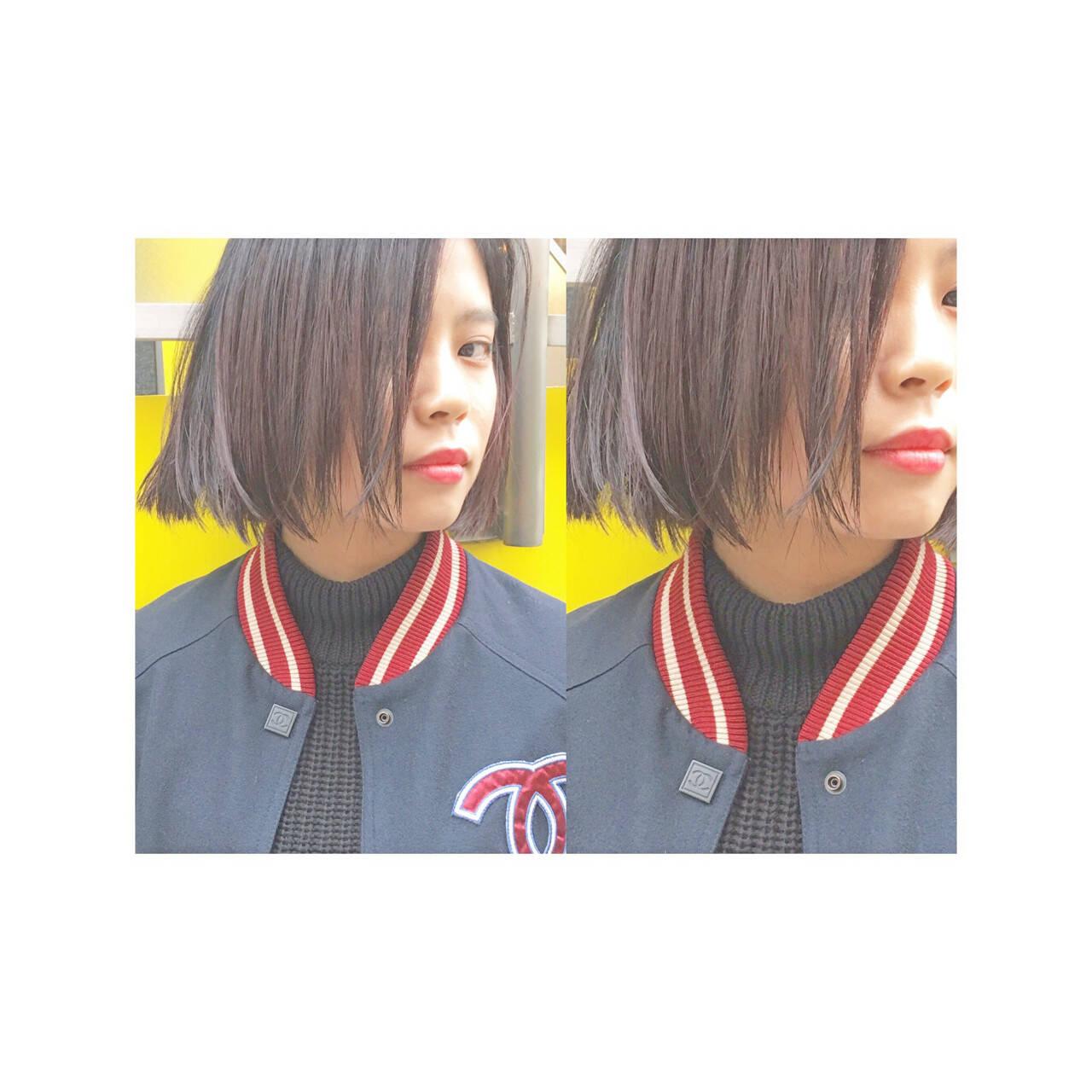 暗髪 モード ストリート 切りっぱなしヘアスタイルや髪型の写真・画像