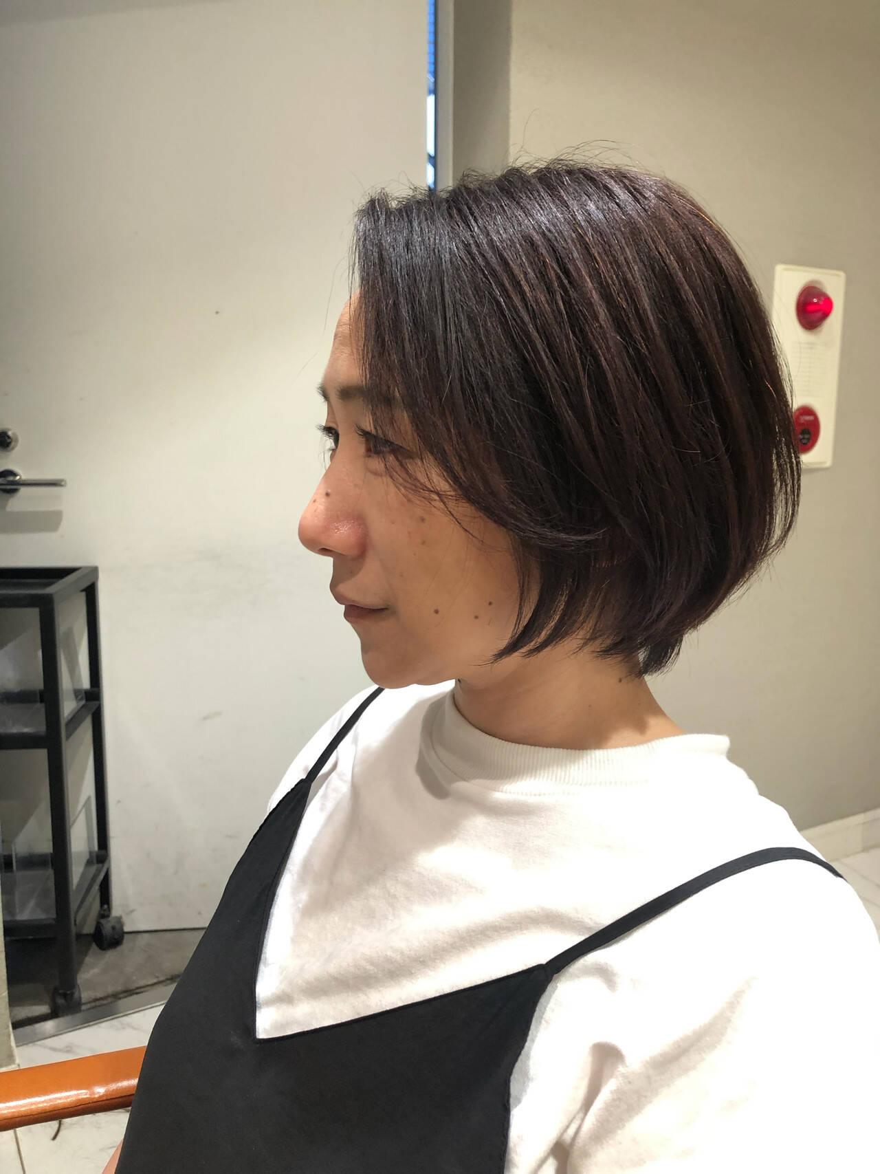 コンサバ 内巻き ショート ヘアオイルヘアスタイルや髪型の写真・画像