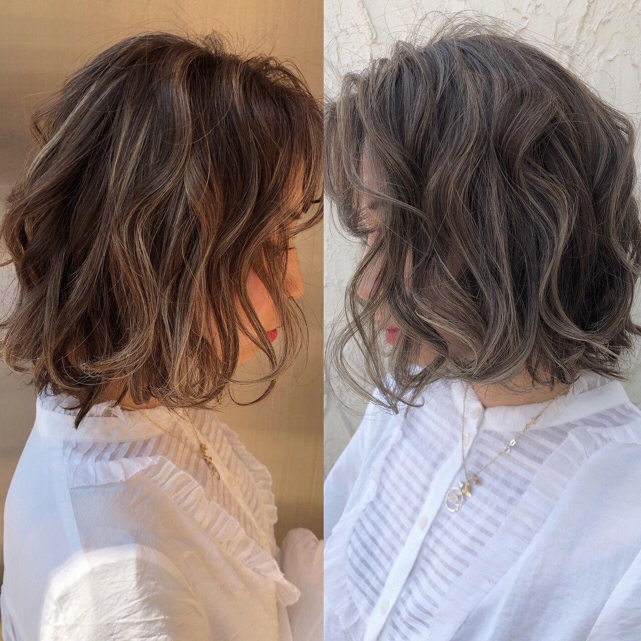 ハイライト ボブ フェミニン 3Dカラーヘアスタイルや髪型の写真・画像