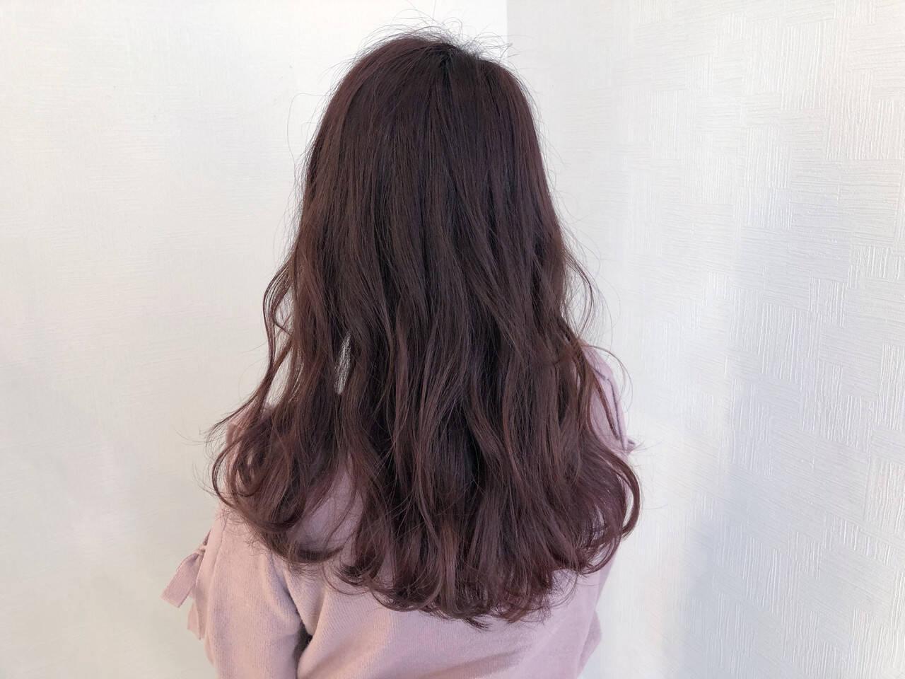 セミロング 簡単ヘアアレンジ ピンクラベンダー ピンクベージュヘアスタイルや髪型の写真・画像