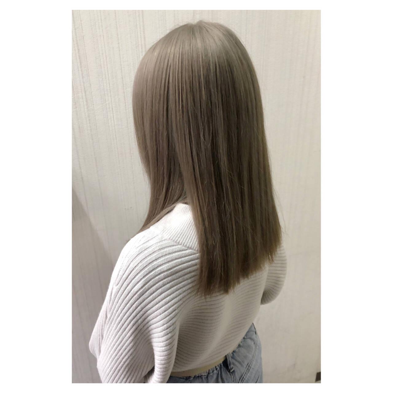 デート アッシュ セミロング 大人女子ヘアスタイルや髪型の写真・画像