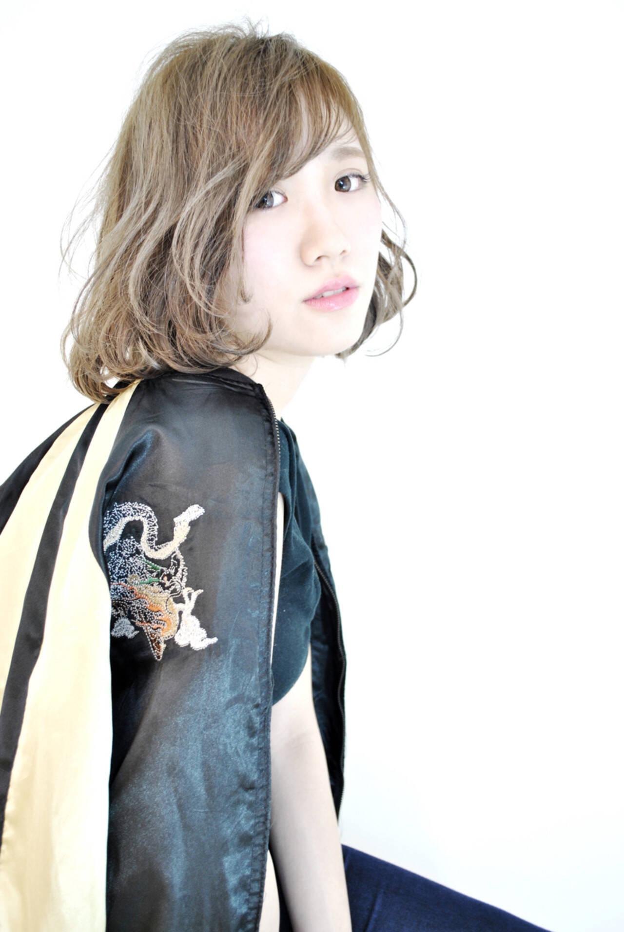 外国人風 ガーリー ハイライト ボブヘアスタイルや髪型の写真・画像