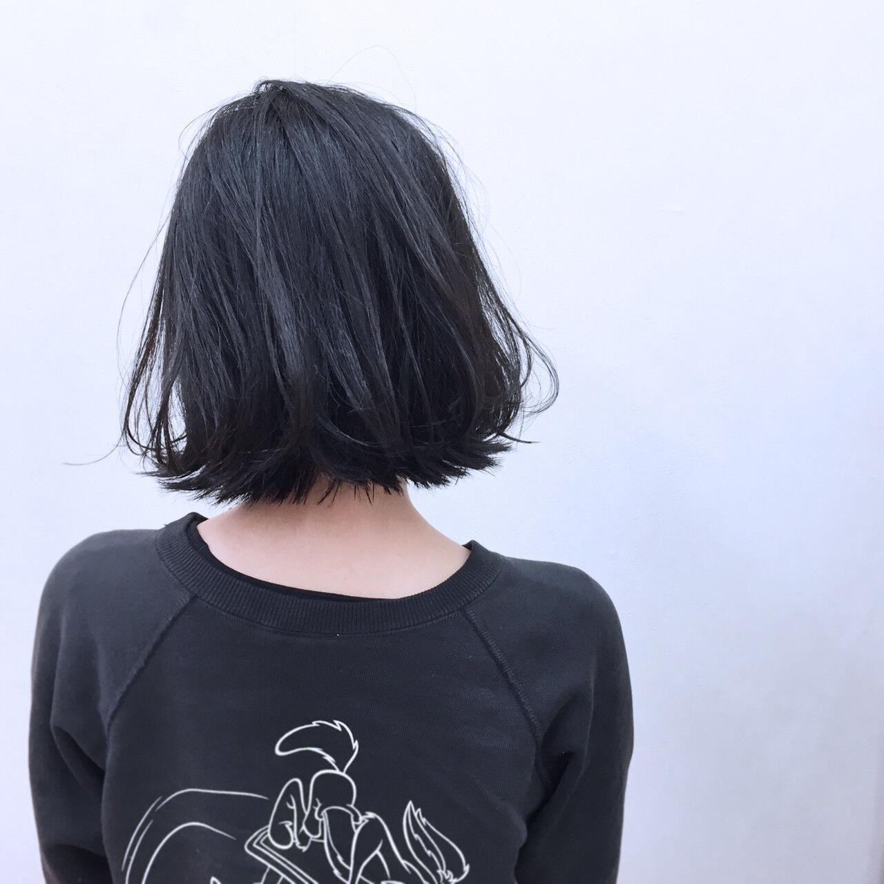 暗髪 ボブ ストリート 簡単ヘアアレンジヘアスタイルや髪型の写真・画像
