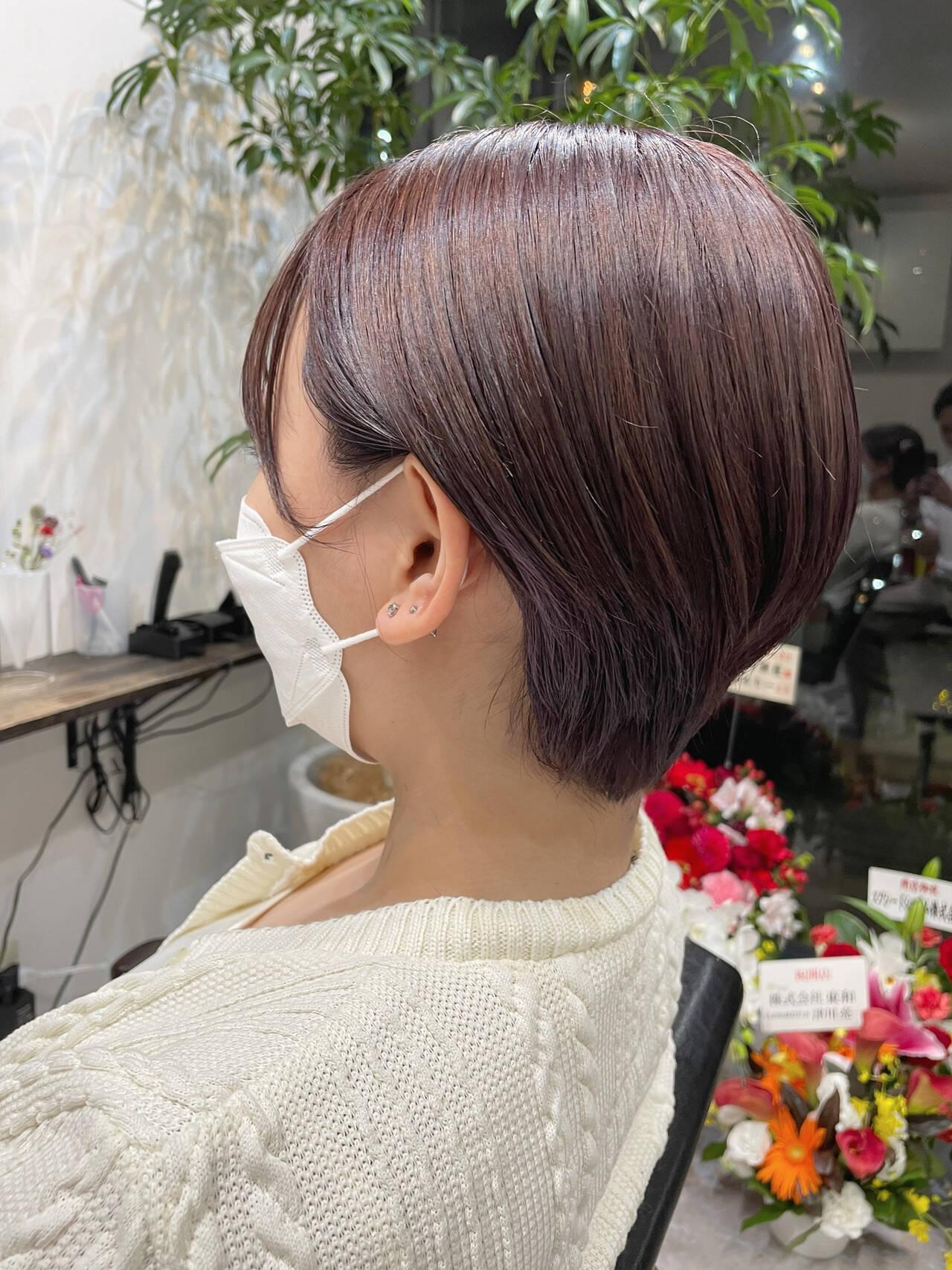 ショートヘア ベリーショート インナーカラー ナチュラルヘアスタイルや髪型の写真・画像