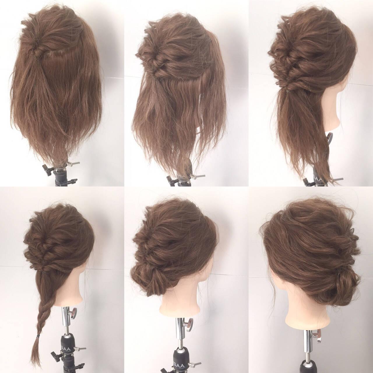 セミロング ヘアアレンジ 簡単ヘアアレンジ ショートヘアスタイルや髪型の写真・画像