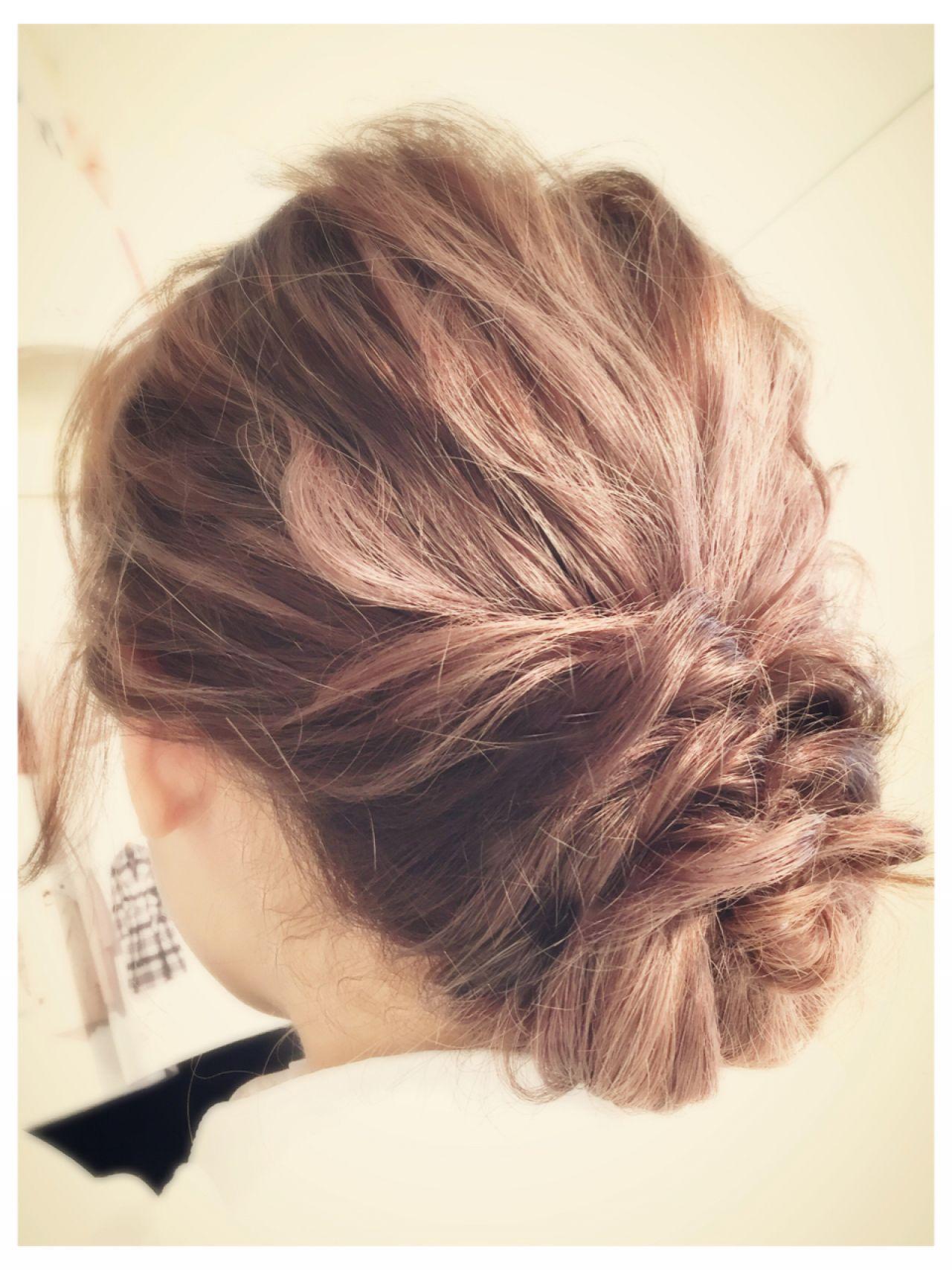 ミディアム ヘアアレンジ パーティ 結婚式ヘアスタイルや髪型の写真・画像