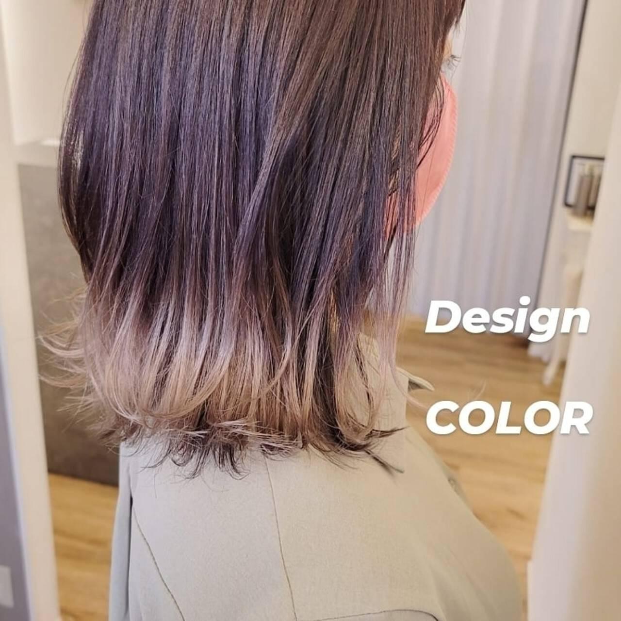 ミディアム 裾カラー ストリート インナーカラーヘアスタイルや髪型の写真・画像