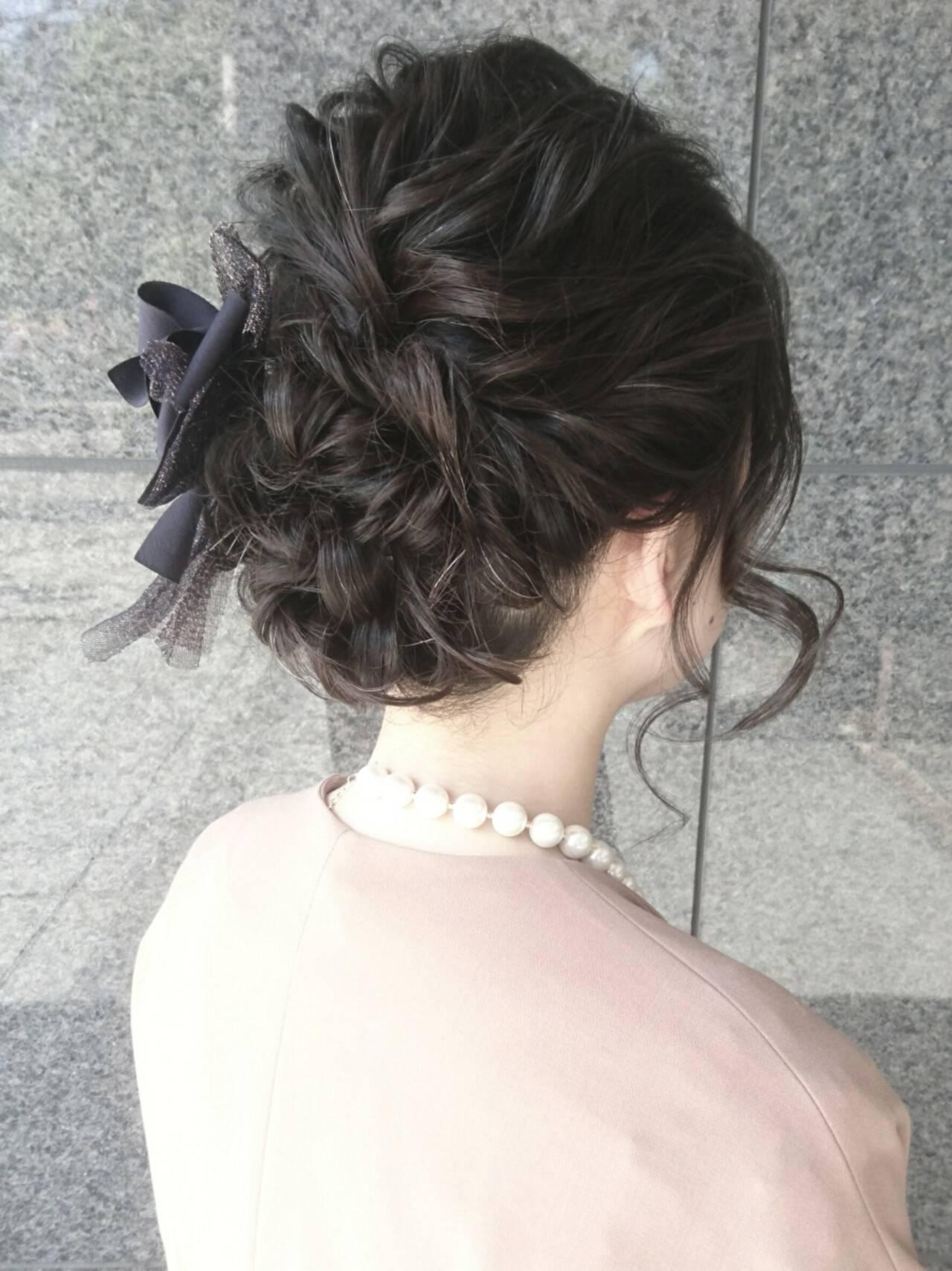 ミディアム ヘアアレンジ フェミニン こなれ感ヘアスタイルや髪型の写真・画像