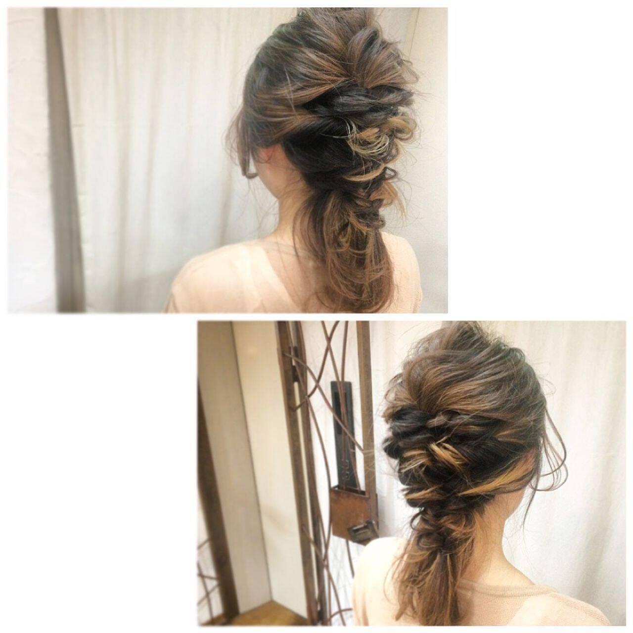 簡単ヘアアレンジ ヘアアレンジ インナーカラー ショートヘアスタイルや髪型の写真・画像