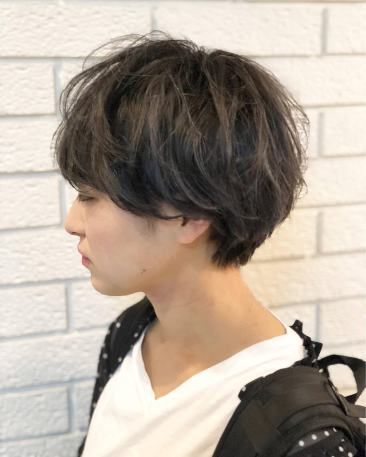 暗髪 ショート アッシュ アッシュグレーヘアスタイルや髪型の写真・画像