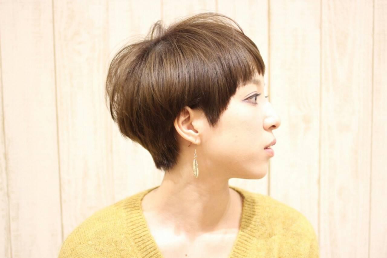 モード 小顔 大人女子 ショートヘアスタイルや髪型の写真・画像