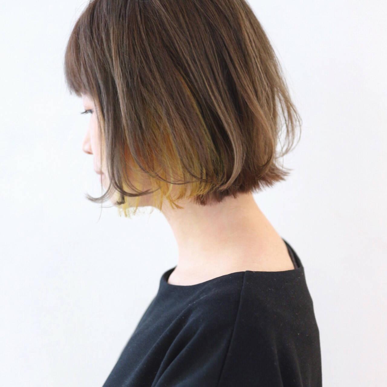 ボブ グレージュ グラデーションカラー インナーカラーヘアスタイルや髪型の写真・画像