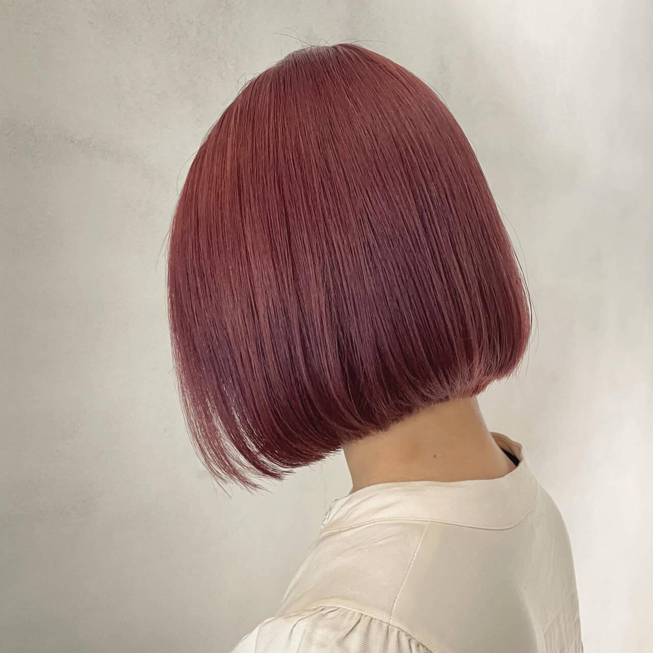 ボブ フェミニン ダブルカラー ピンクブラウンヘアスタイルや髪型の写真・画像