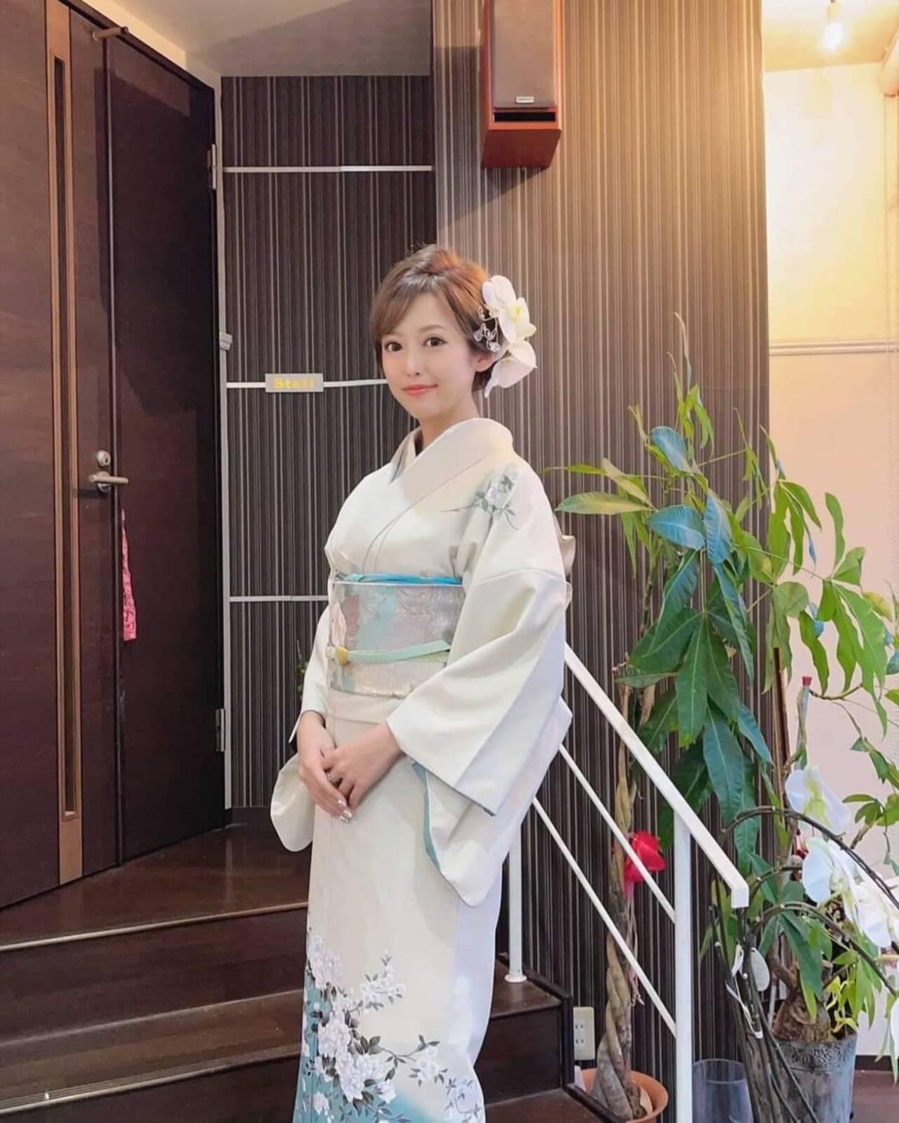 ミディアム 着物 ヘアアレンジ 結婚式髪型ヘアスタイルや髪型の写真・画像