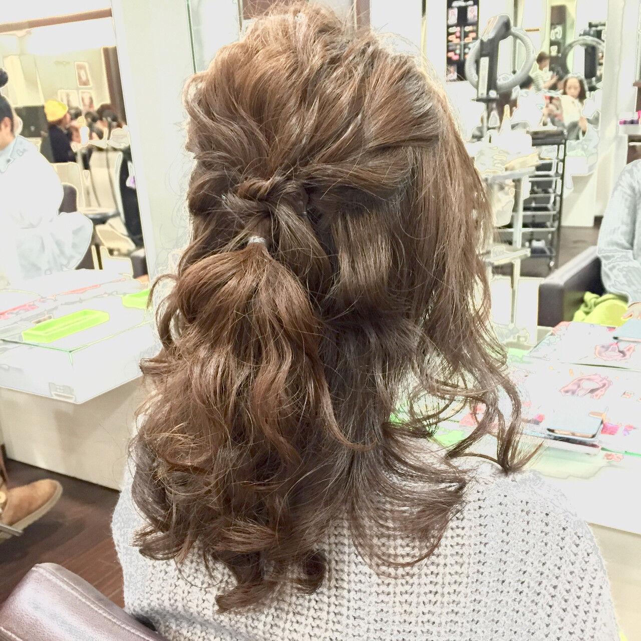 結婚式 二次会 ハーフアップ ヘアアレンジヘアスタイルや髪型の写真・画像