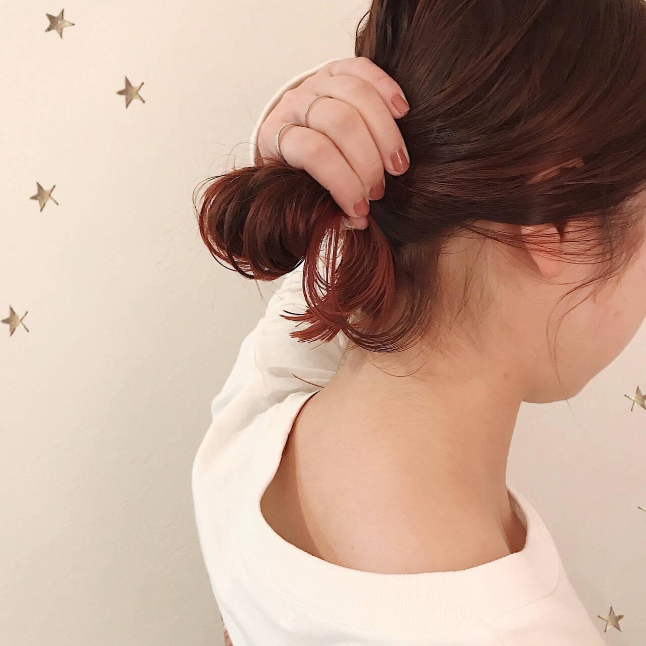 グラデーションカラー ストリート ピンク セミロングヘアスタイルや髪型の写真・画像