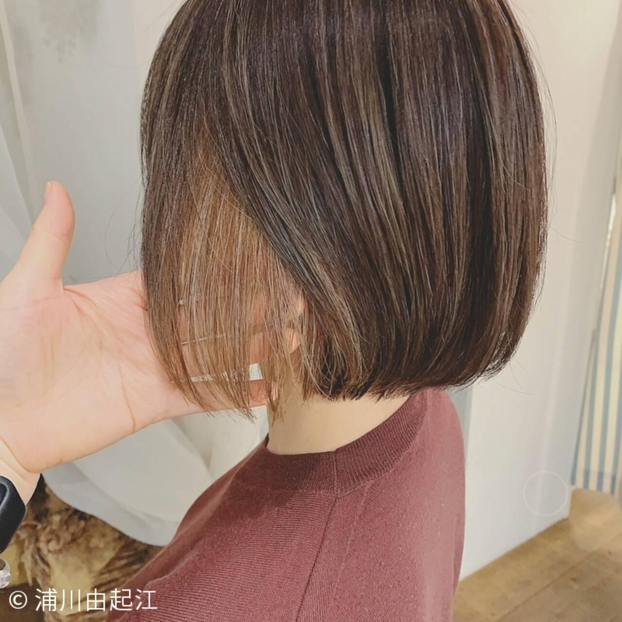 ショートヘア ボブ 大人かわいい ナチュラルヘアスタイルや髪型の写真・画像