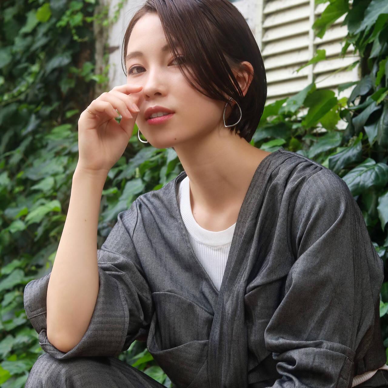 ハンサムショート モード 小顔ショート ショートヘアヘアスタイルや髪型の写真・画像