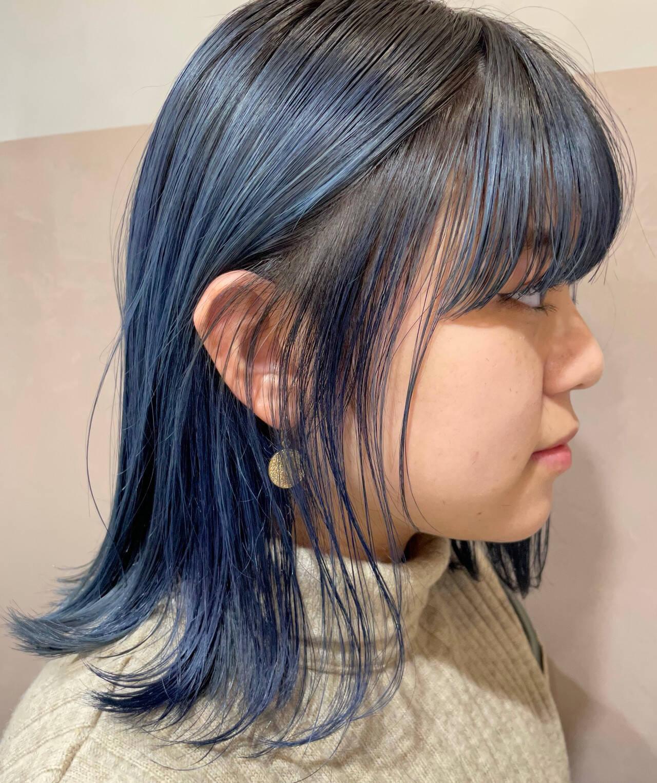 ブルーバイオレット ネイビーブルー ストリート ミディアムヘアスタイルや髪型の写真・画像