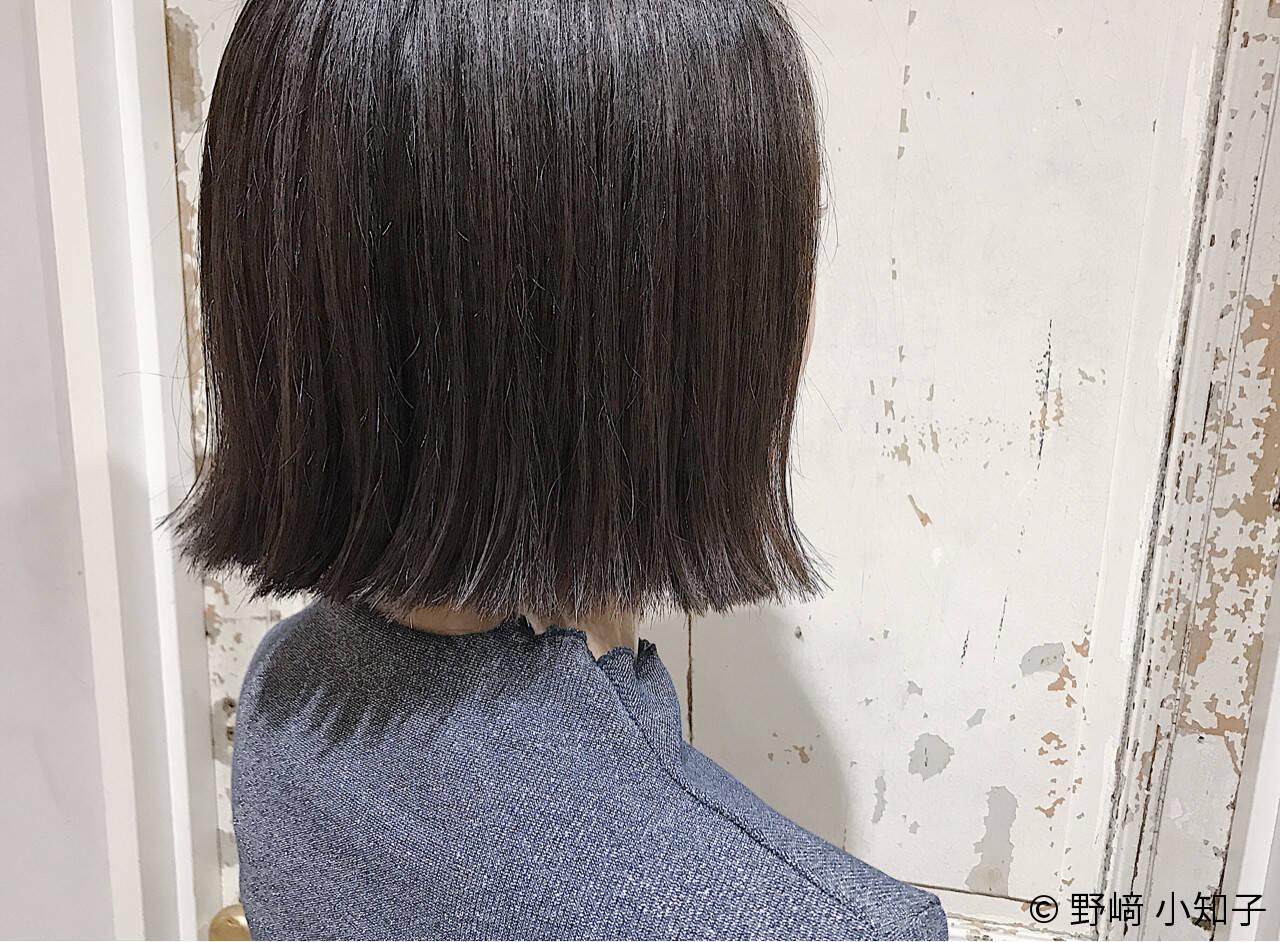 ボブ ナチュラル ハイライト 切りっぱなしヘアスタイルや髪型の写真・画像
