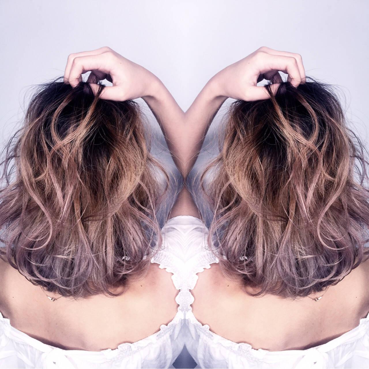 ハイライト ミルクティー アッシュ ボブヘアスタイルや髪型の写真・画像