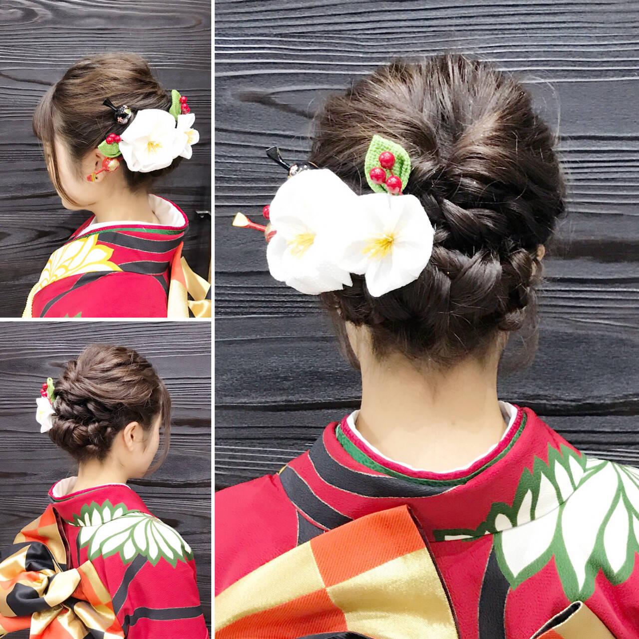 成人式 ヘアアレンジ ミディアム くるりんぱヘアスタイルや髪型の写真・画像