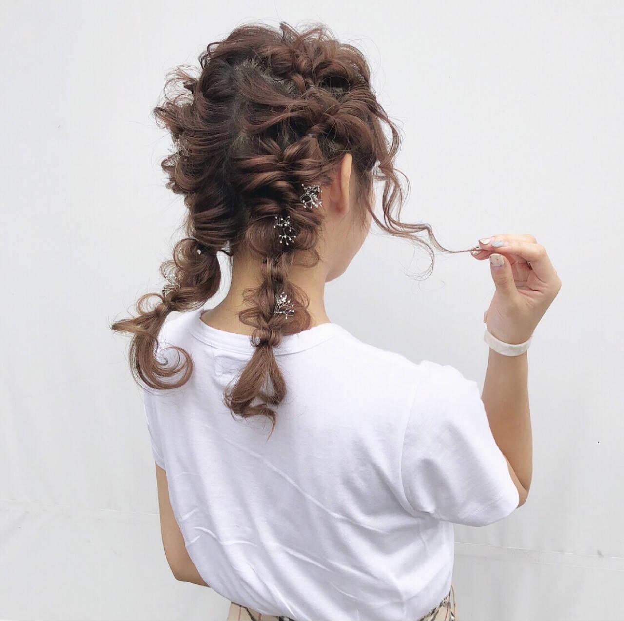 ガーリー ヘアアレンジ ツインテール デートヘアスタイルや髪型の写真・画像