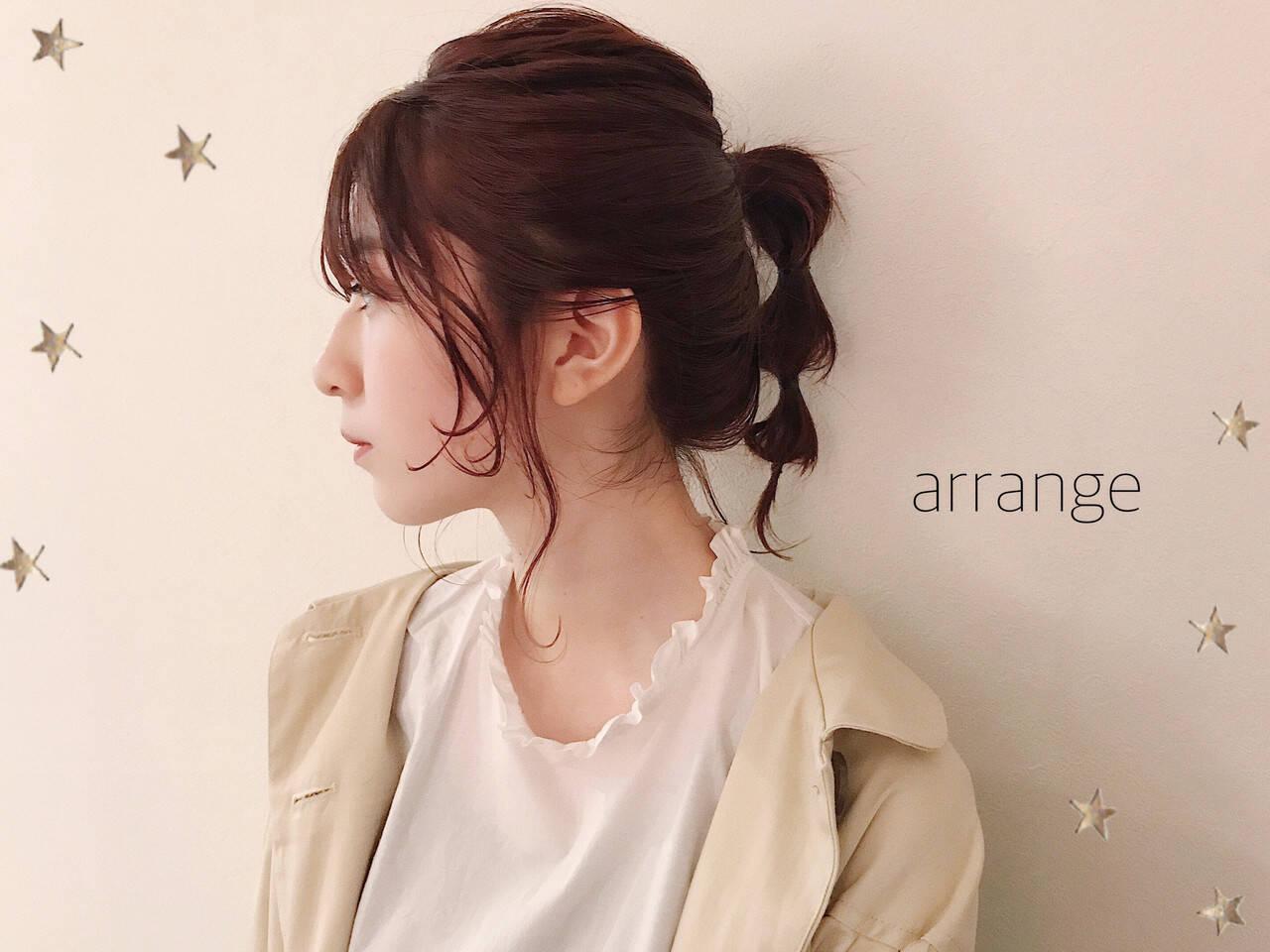 ヘアアレンジ ミディアム ガーリー 簡単ヘアアレンジヘアスタイルや髪型の写真・画像