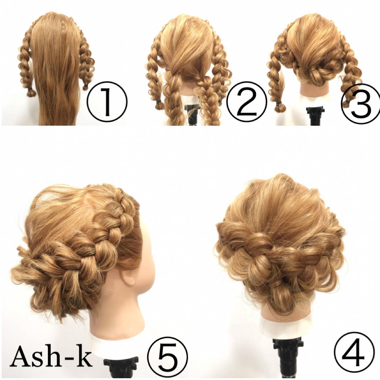 エレガント 三つ編み 大人女子 簡単ヘアアレンジヘアスタイルや髪型の写真・画像