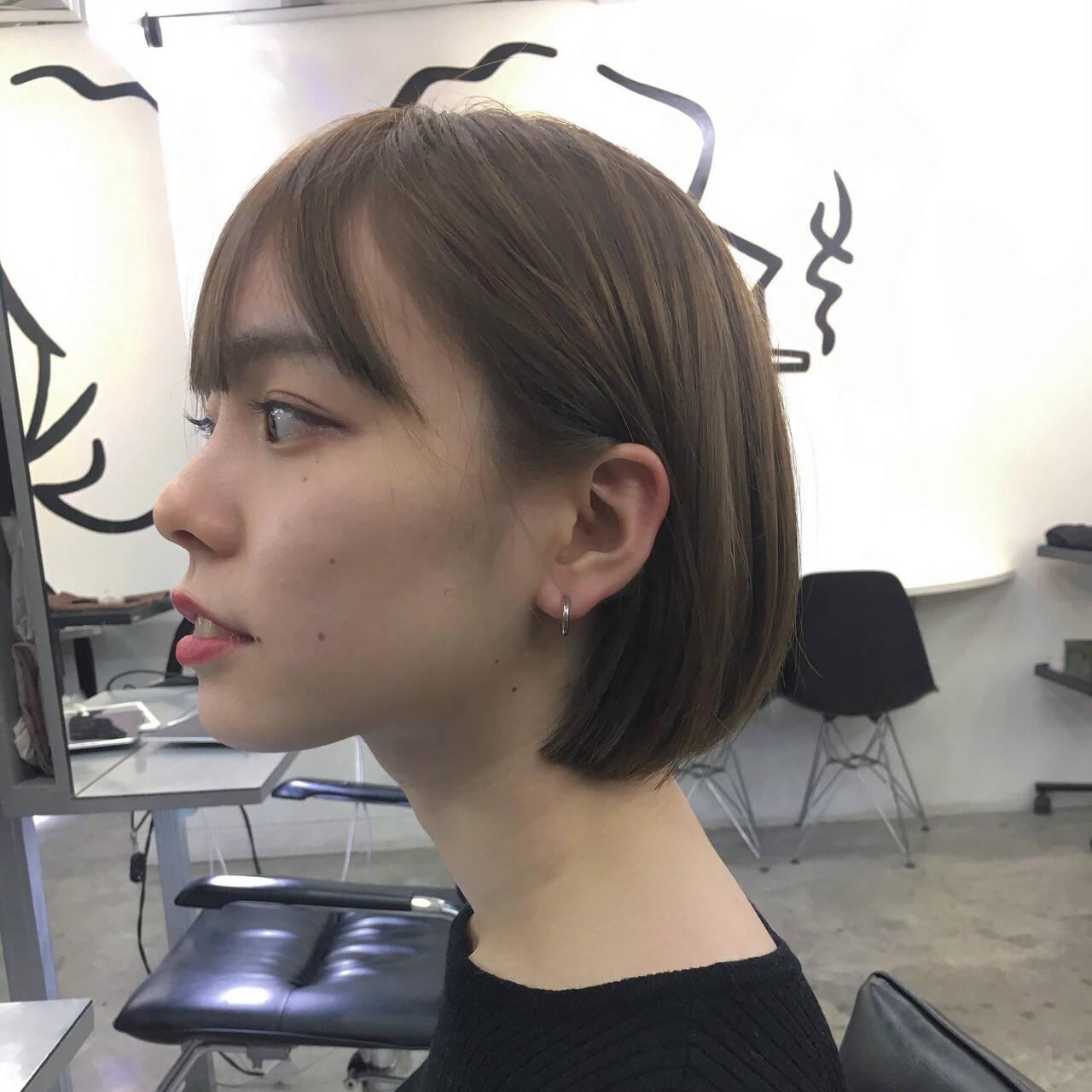 ベージュ デート シアーベージュ モードヘアスタイルや髪型の写真・画像