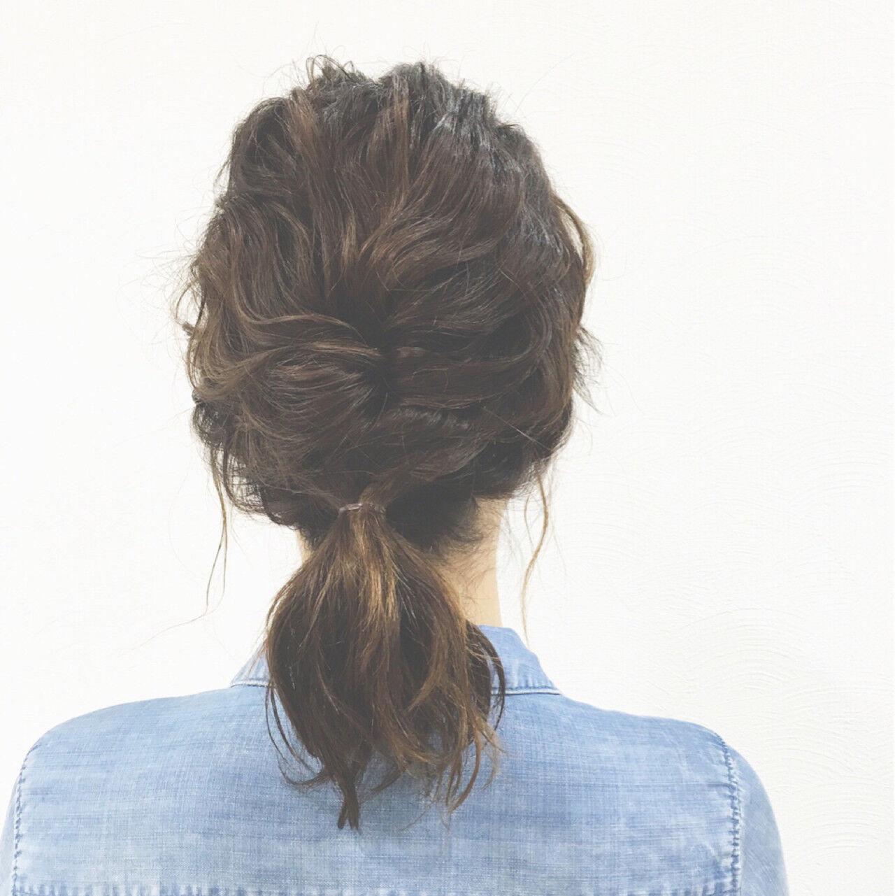 簡単ヘアアレンジ ショート ボブ くるりんぱヘアスタイルや髪型の写真・画像