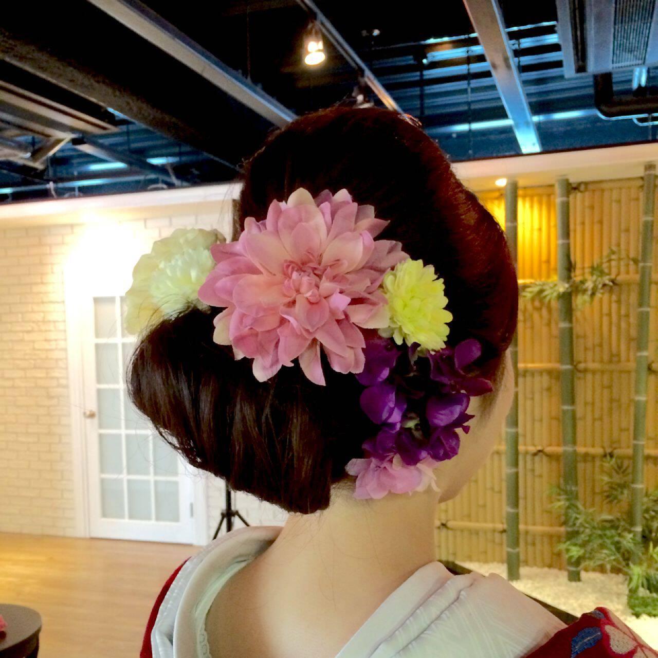 ヘアアレンジ コンサバ 和装 着物ヘアスタイルや髪型の写真・画像