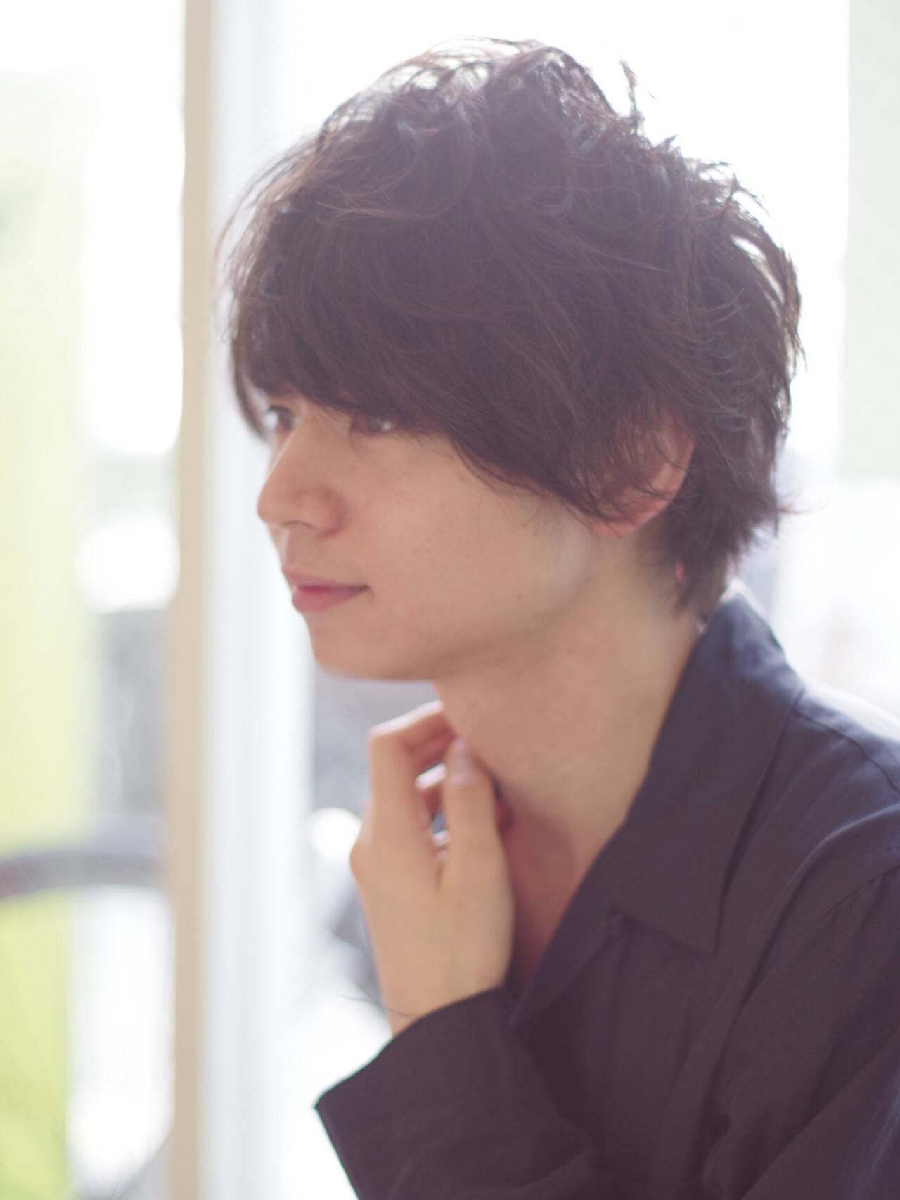 ボーイッシュ モテ髪 パーマ ショートヘアスタイルや髪型の写真・画像