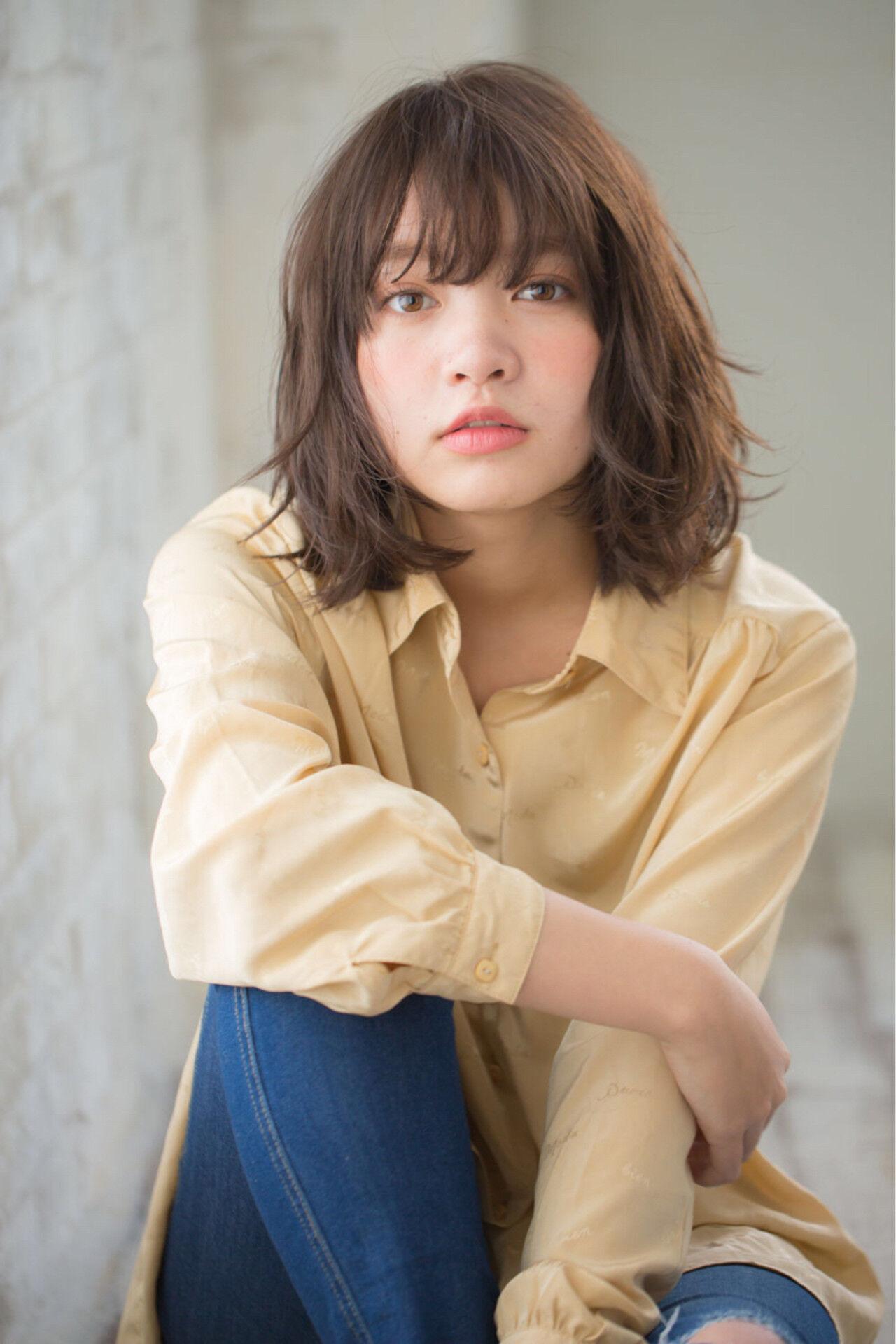 ミディアム デジタルパーマ 黒髪 パーマヘアスタイルや髪型の写真・画像