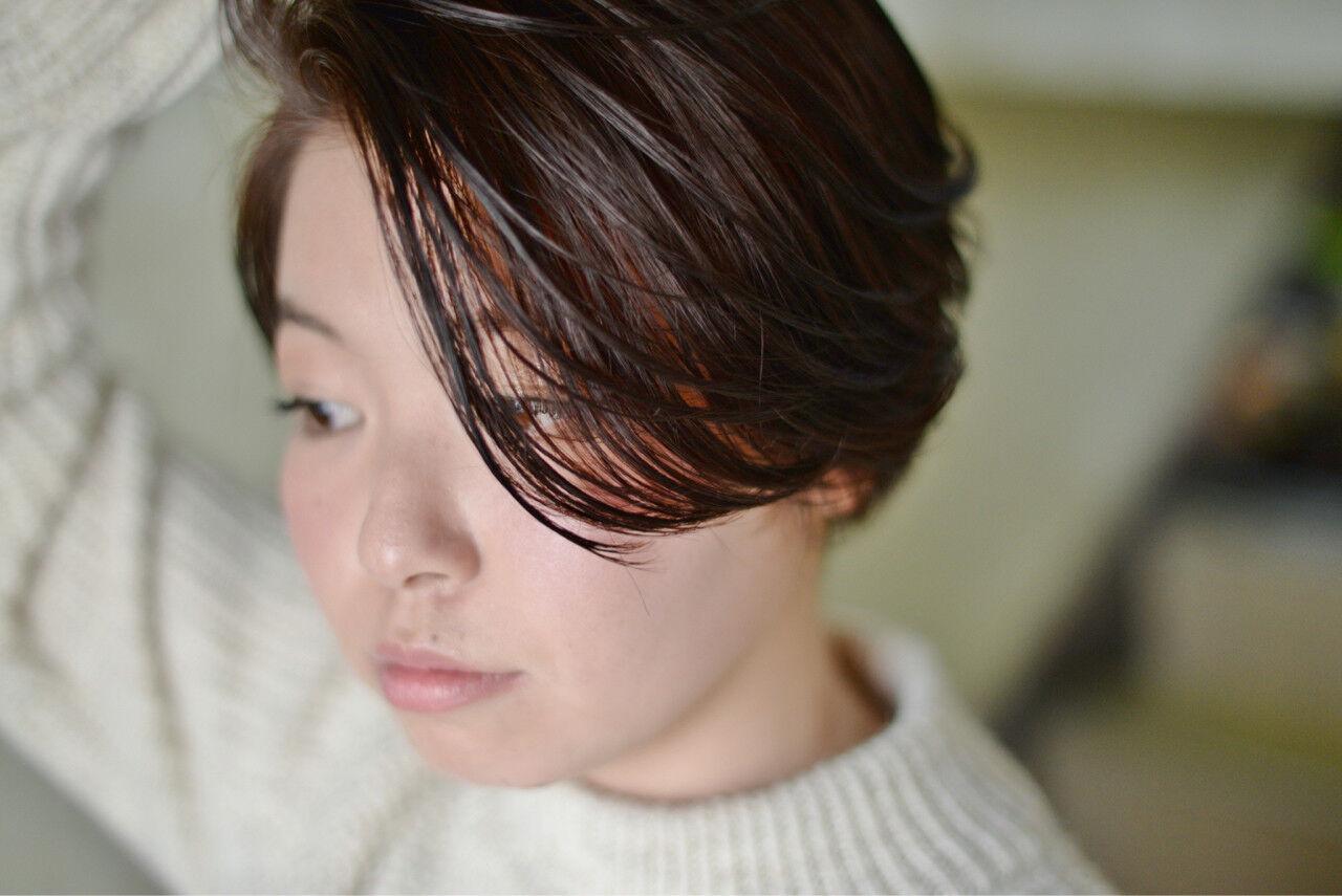ハイライト ショート 冬 暗髪ヘアスタイルや髪型の写真・画像