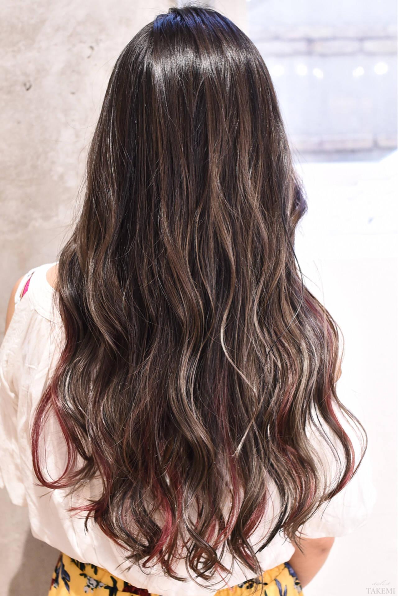 グラデーションカラー ガーリー ロング ハイライトヘアスタイルや髪型の写真・画像
