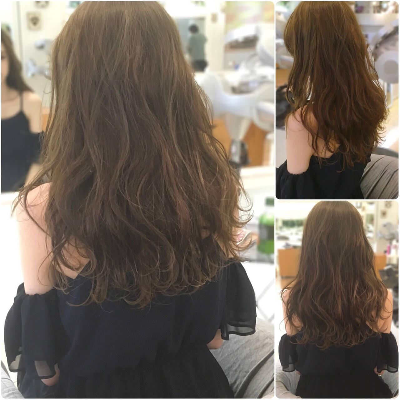 ロング セミロング デート ガーリーヘアスタイルや髪型の写真・画像