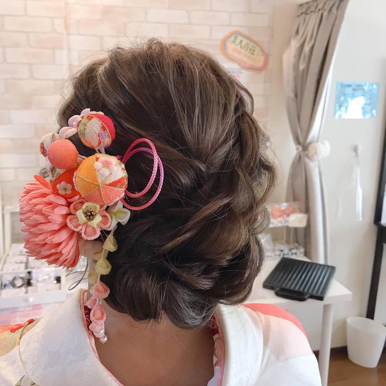 結婚式 振袖 成人式 フェミニンヘアスタイルや髪型の写真・画像