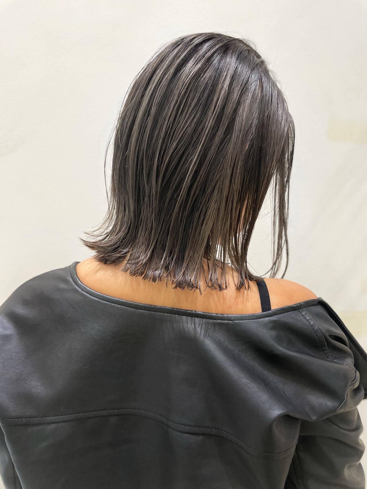 ハイライト 切りっぱなしボブ ナチュラル ボブヘアスタイルや髪型の写真・画像