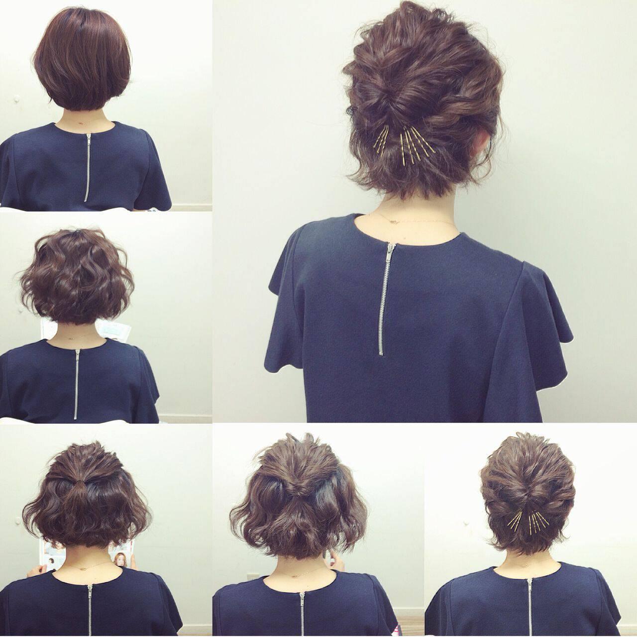 ナチュラル アップスタイル ショート ヘアアレンジヘアスタイルや髪型の写真・画像