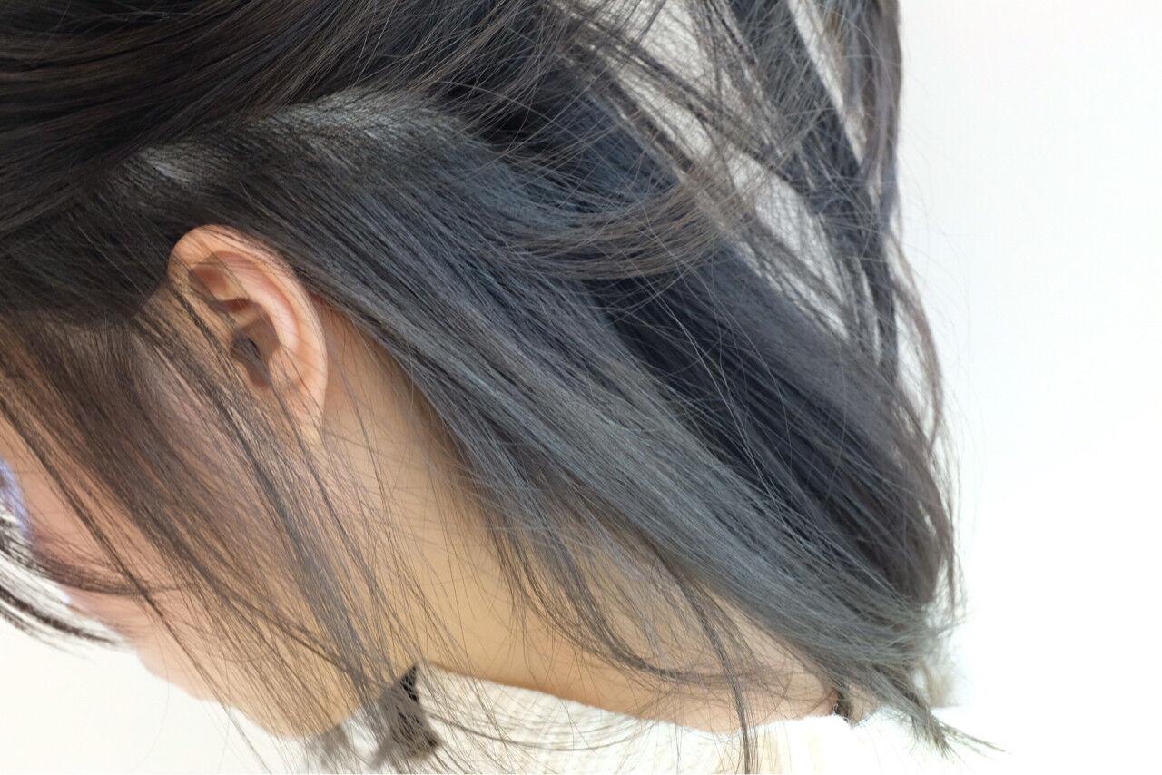 ボブ ストリート 暗髪 ミディアムヘアスタイルや髪型の写真・画像